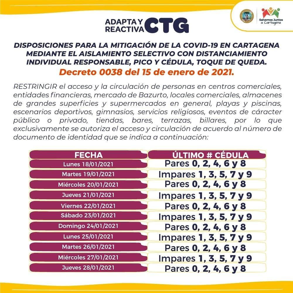El pico y cèdula inicia este lunes 18 de enero en Cartagena